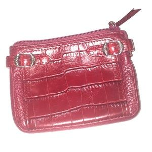 BRIGHTON red pebbled leather/faux croc card case